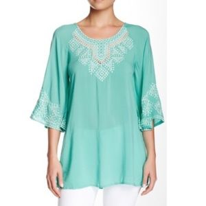 Teal Embroidered Dress Shirt/ Cover-Up (S)